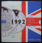 Velika Britanija 1992 Royal Mint BU 9 Kovancev Set 1p - 1 £ redko