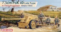 Maketa top i figurice 7.5cm Pak 40 with Fallschirmjager Gun 1/35 1:35
