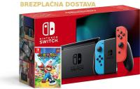 Nintendo Switch Neonsko V2 rdeč-moder z Mario + Rabbids Kingdom Battle