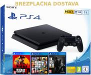 Playstation 4 Slim 1TB 3 igre GTA 5 Red Dead Redemption II Premium LOA