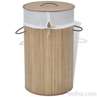 Koš za perilo iz bambusa okrogel naravne barve