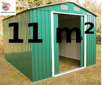 Vrtna kovinska hiška / uta za orodje 11 m² - zelena